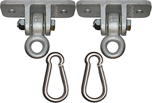 Jungle Gym Kingdom 2 Heavy Duty Swing Hangers for Wooden Sets Playground Porch Indoor Outdoor & Hanging Snap Hooks | 1260 lb Capacity | Includes Ebook Instruction Guide