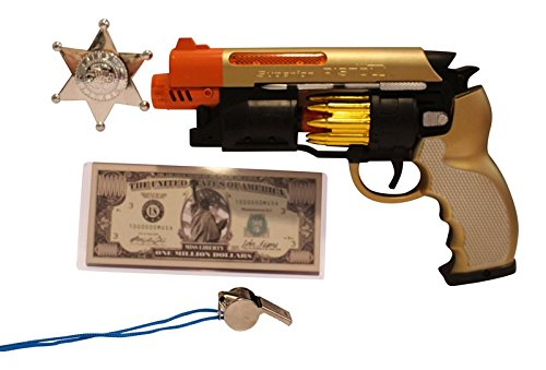 Bundle Gold-Tone Toy Gun 7-Piece Bundle Includes LED Light-Up Machine Pistol with Realistic Gunfire Sounds for Dress-Up and Costume Accessories by Imprints Plus (Large Slide Whistle compare prices)