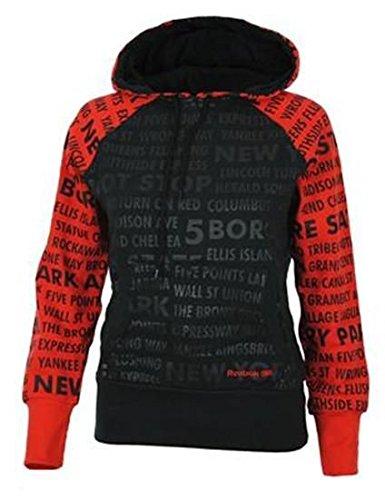 Reebok ES NYC Hoody Donna Felpa con cappuccio nero, Sizes:XS