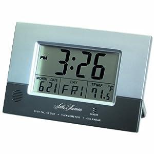 seth thomas grey case with grey dial rectangular radio controlled digital. Black Bedroom Furniture Sets. Home Design Ideas