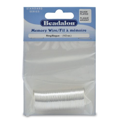 Beadalon Silver Plated Memory Wire Ring, 1/2-Ounce/Pkg, Approximately 99 Loops