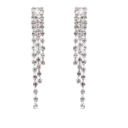 Wedding Party Linear Diamante Tassel Rhinestone Drop Dangle Clip-on Earing
