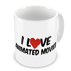 Amazon com coffee mug i love animated movies neonblond kitchen