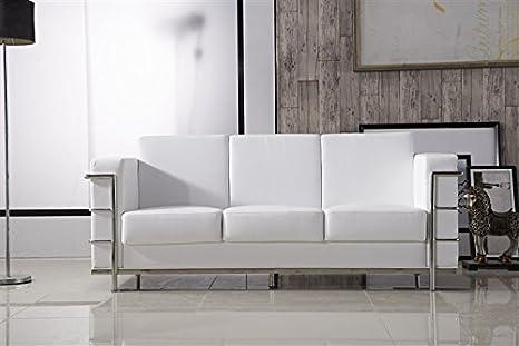 HOGAR DECORA - Sofa 3 plazas simil piel blanco y estruc acero inox