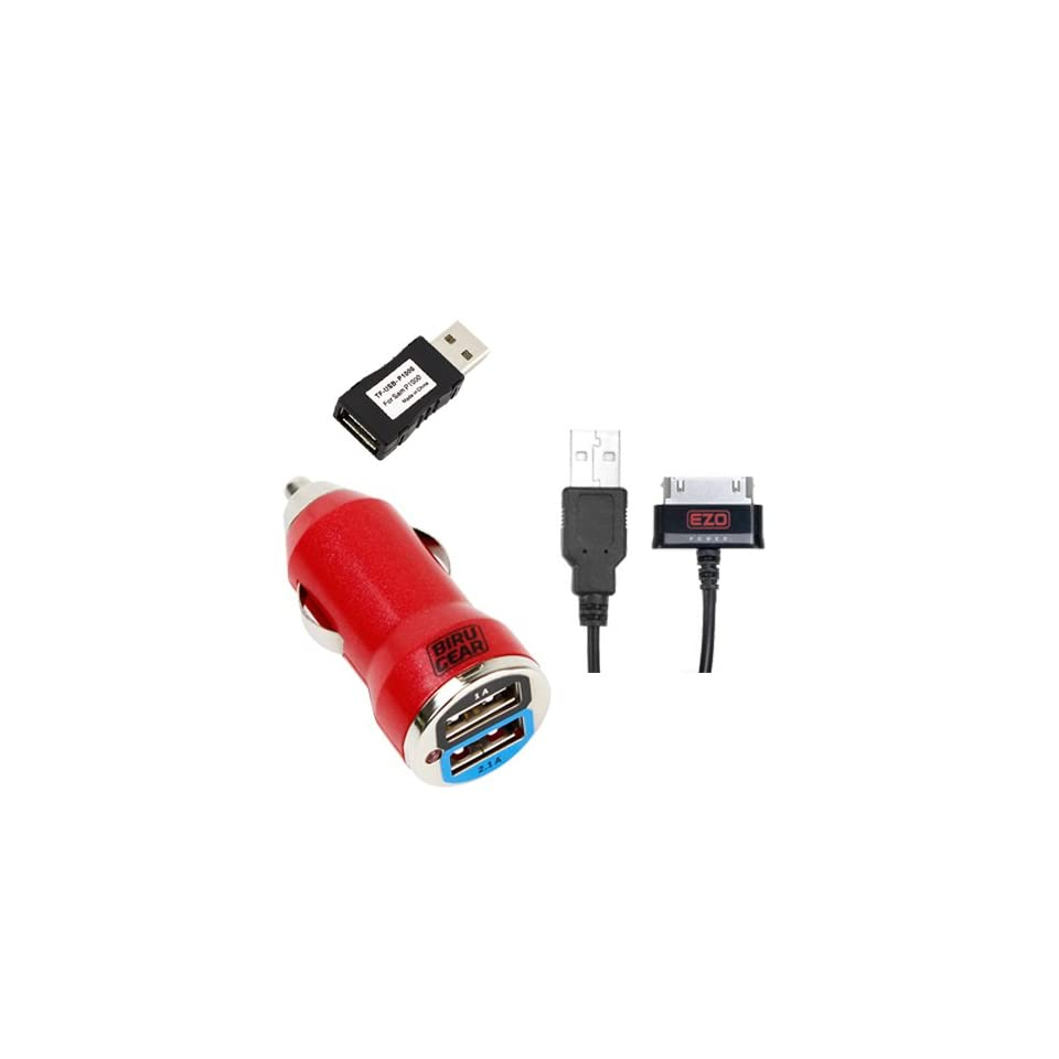 EZOPower 2 in 1 Data Charging Cable plus Red 2 Port USB Car Power Adapter, Charger Adapter USB Filter Plug for for Samsung Galaxy Tab Galaxy Note 10.1 inch N8010, Galaxy Tab 2 7 inch P3100 / 10.1 inch P5100, Tab 7.7 plus and more