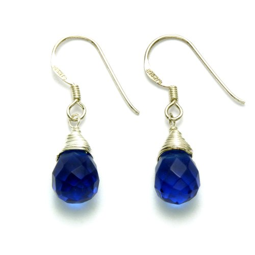 Sterling Silver Sapphire Crystal Teardrop Wire Earrings