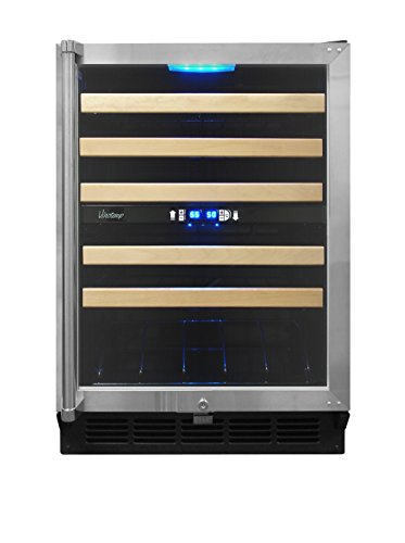 Vinotemp 45-Bottle Dual-Zone Wine Cooler with Display Shelf, Black/Stainless/Chrome