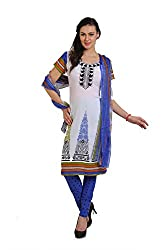 Parchayee Off White Synthetic Crepe Dress Material