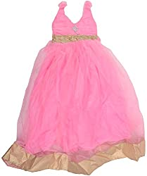 Kanchoo Girls' Long Frock (BSKF044_3-4 Years, Pink, 3-4 Years)