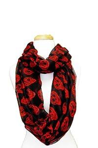 Infinity Loop Skull Design Scarf (Black/Red)