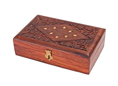 Handcrafted Decorative Wooden Keepsake Jewelry Trinket Box Storage Organizer Mutlipurpose with Intricate Floral Carvings