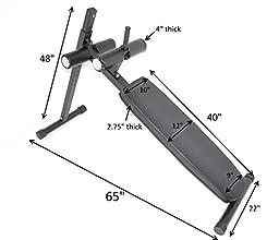 HD Abdominal Board 12 Position Adjustable Ab Decline Bench Handle Wheels Gym Style
