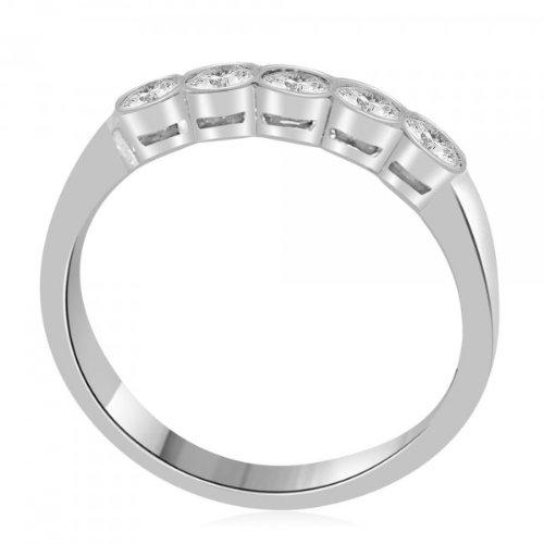 0.60 carat Diamond Half Eternity Ring for Women. G/SI1 Round Brilliant Diamonds in Rub Set Setting in 18ct White Gold