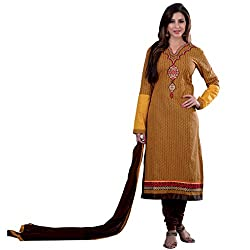 Voguish Yellow & Brown Coloured Embroidered Dress Material
