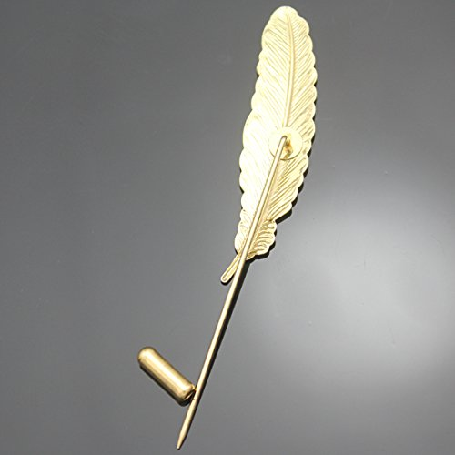 Q&Q Fashion Vintage Gold Tone Feather Leaf Navajo Zuni Style Lapel Stick Pin Brooch Badge,3.3