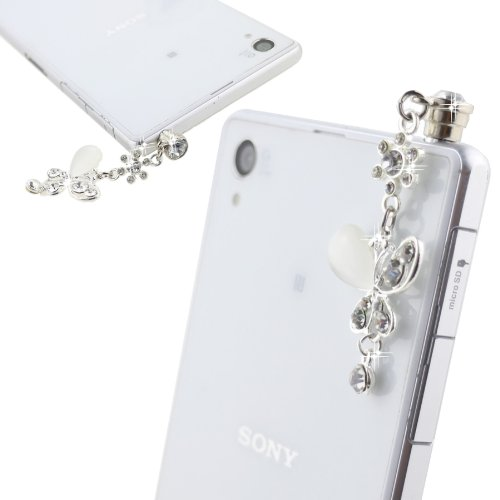 Ancerson White Silvery Butterfly Pendant Bling Shining Cute Crystal Diamond Rhinestone Universal Fashion 3.5Mm Anti Dust Earphone Jack Plug Stopper For Ipod Touch 2 3 4 5, Iphone 3 3G 3S 4 4S 5 5C 5S,Samsung Galaxy S4 I9500/ S4 Mini/ S5 I9600/ S3 I9300/ S