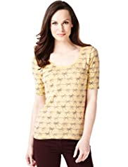 Pure Cotton Bow Print T-Shirt