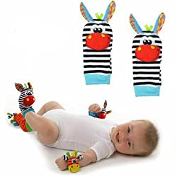 2Pcs Baby Lovely Animal Zebra Socks Rattles Toys Finders Glove Infant Kids Foot -