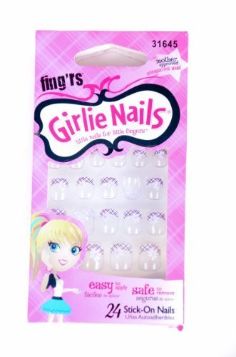 Fing'rs Girlie Nails 24ct Stick on Nails PINK PLAID 31645 by Fing'rs Girlie