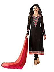 Adorn Mania Black Brasso Embroidered salwar Suits Dress Material
