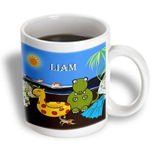 3Drose Mug_50065_1 Liam-Tyrannosaurus Rex At The Beach, Ceramic Mug, 11-Ounce