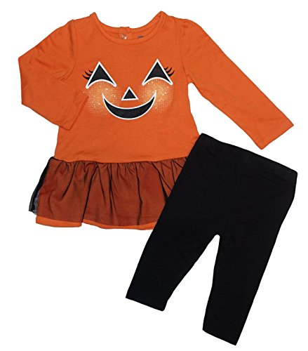 Halloween Pumpkin Face Baby Girls' 2 Piece Dress with Tutu and Pants Outfit