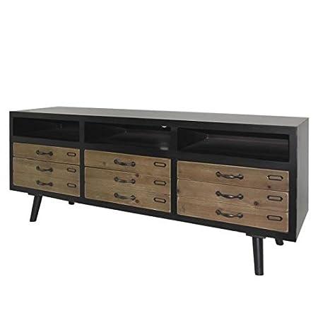 LOFT Meuble TV vintage marron + pieds bois pin massif - L 155 cm