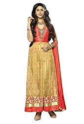 Vibes Mastani Collection Unstitched Beige colour Lehenga Style Anarkali Designer Dress V359-1211