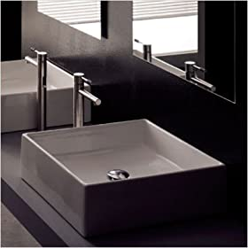Teorema Above Counter Bathroom Sink in White