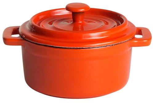 9706 Topf aus Gusseisen, ø 10 cm, orange/weiß emailliert