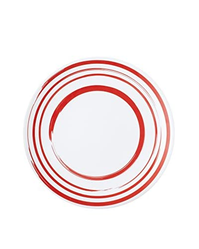 Q SQUARED NYC Madison Bloom Lite Melamine Dinner Plate, Red