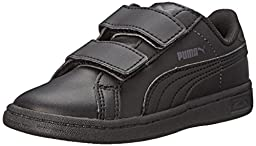 PUMA Smash L V Kids Classic Sneaker (Infant/Toddler/Little Kid/Big Kid) , Black/Black/Dark Shadow, 5 M US Toddler