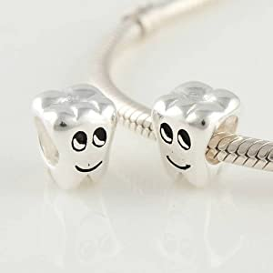 Cute Tooth Fairy 925 Sterling Silver Beads for Pandora, Biagi, Chamilia, Troll and More Bracelets