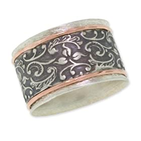 Antiqued Filigree Paisley Band in 14K Rose Gold and Sterling Silver