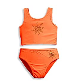 Lipstik - Girls 2 Piece Tankini Bathing Suit, Orange