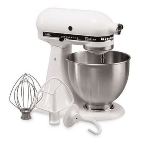 New Kitchenaid Classic Plus Ksm75Wh 10-Speed Stand Mixer All Metal Usa -White Gift For Your Family front-131144