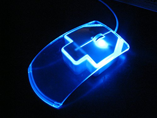 Glowing Blue LED Computer Mouse