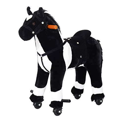 Plush Ride On Walking Horse with Wheels - Black