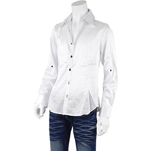 ドレスシャツ メンズ ストライプ サテン 長袖シャツ ロールアップ 襟ワイヤー ビジネス GM270319-01 ホワイト L