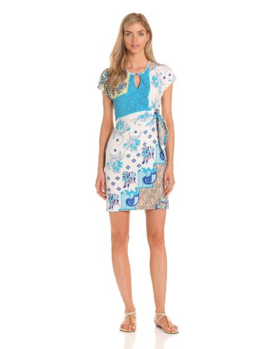 Donna Morgan Women's Cap Sleeve Printed Side Tie Dress With Key Hole, Marina Mist Multi, 6