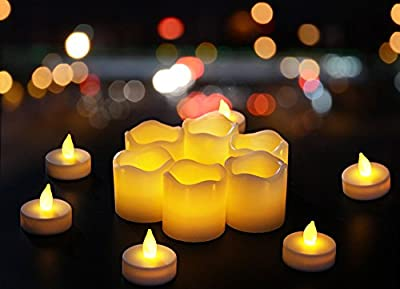 Flameless Candles Battery powered, Unscented, Real Wax & Real Flickering Flameless LED Tea Light Candles for Wedding & Parties - 12 pack - Homewill