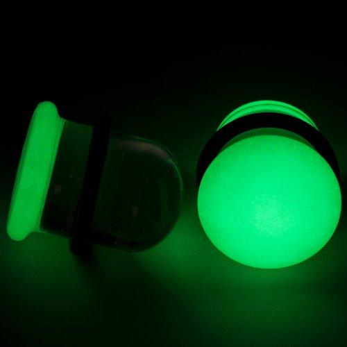 Pair of Glass Single Flared Glow-In-The-Dark Plugs: 12mm, Yellow/Green