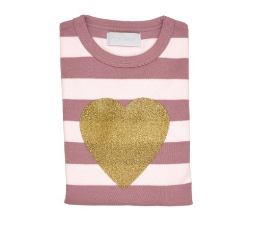 Bob and Blossom Heart T-shirt - Vintage & Powder Pink Striped 5-6 years