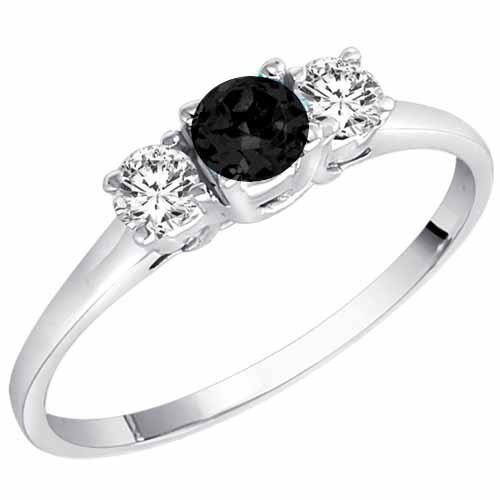 DivaDiamonds 14K White Gold Round 3 Stone Black Diamond & White Diamond Ring (1/2 ctw) - Size 7