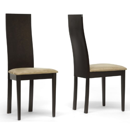 geneva modern dining chair dark brown set of 2 discount killoppase