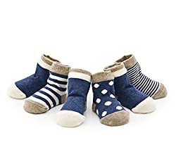Izzy & Roo Baby Socks and Toddler Socks - Heathered Boy Socks and Girl Socks Set of 4 Pair (0-12 Months, Denim)