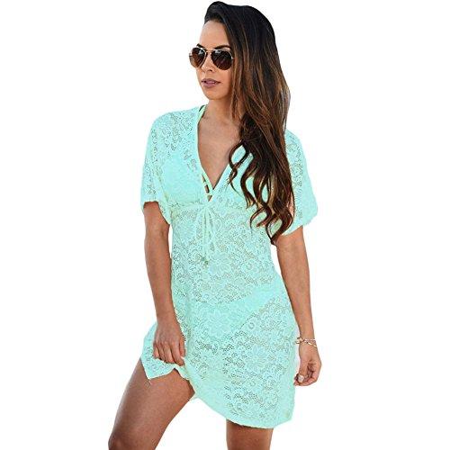 meinice trasparente Lace Cover Up Dress Blue Medium