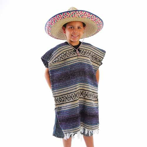 Child Size Traditional Poncho - No Sombrero,COLORS MAY VARY