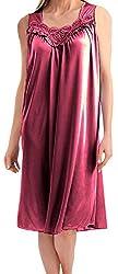Womens Satin Silk Sleeveless Lingerie Nightgown