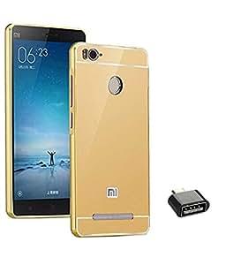 TBZ Metal Bumper Acrylic Mirror Back Cover Case for Xiaomi Redmi 3S with Cute Micro USB OTG Adapter -Golden